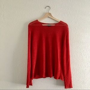 Eileen Fisher red linen sweater